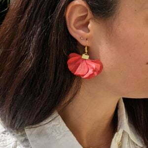 Boucles d'oreilles éventail en fleurs stabilisées, bijou bohème, Neus