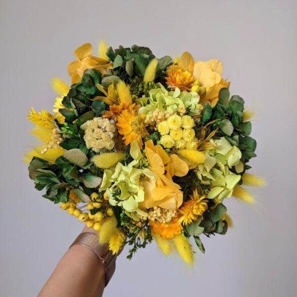 Bouquet de mariée en fleurs stabilisées & fleurs séchées, Mia