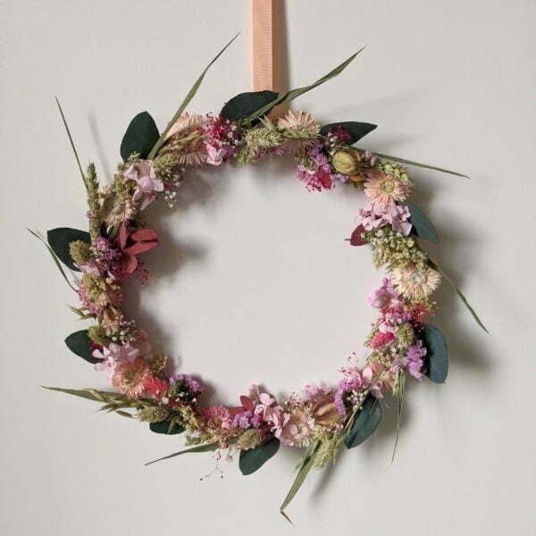 Couronne de fleurs séchées & fleurs stabilisées, Béatrice 2