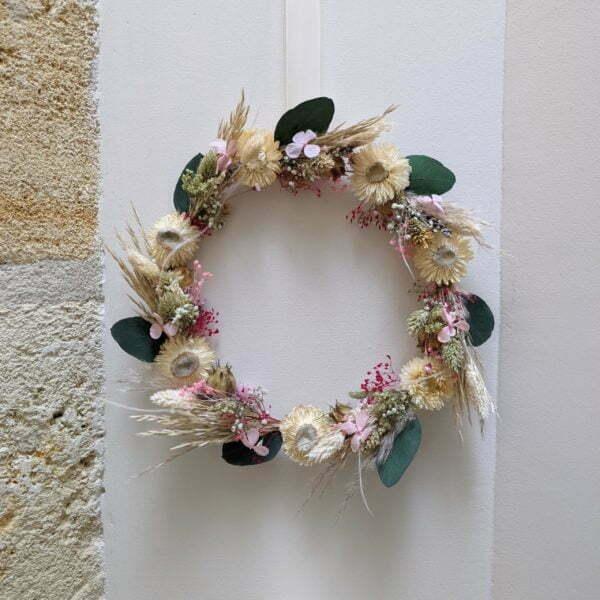 Couronne de fleurs séchées & fleurs stabilisées, Béatrice 6