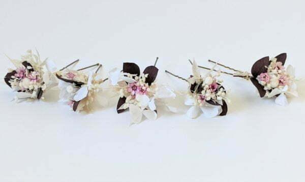 Lot de 5 épingles à cheveux ornées de fleurs séchées & fleurs stabilisées, Aphrodite 3