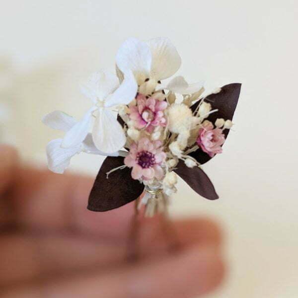 Lot de 5 épingles à cheveux ornées de fleurs séchées & fleurs stabilisées, Aphrodite 2