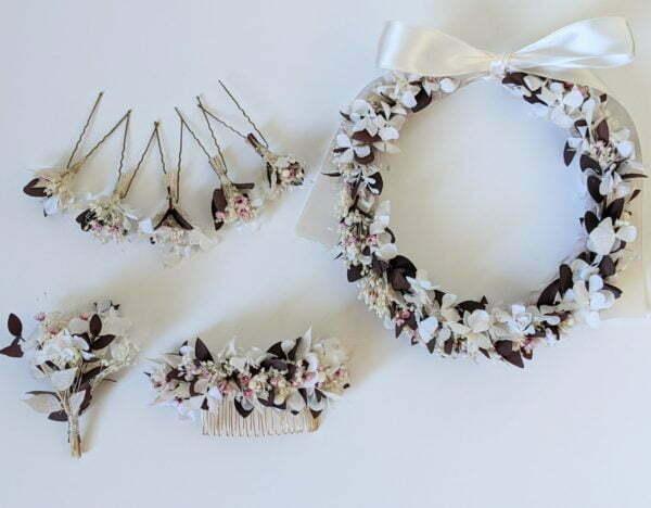 Lot de 5 épingles à cheveux ornées de fleurs séchées & fleurs stabilisées, Aphrodite 4