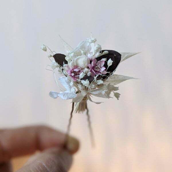 Lot de 5 épingles à cheveux ornées de fleurs séchées & fleurs stabilisées, Aphrodite