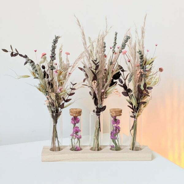 Ensemble de mini bouquets de fleurs séchées & fleurs stabilisées avec fioles en verre, Mona 3