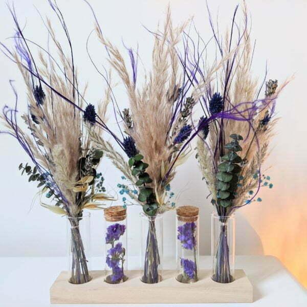Ensemble de mini bouquets de fleurs séchées & fleurs stabilisées avec fioles en verre, Mona 2