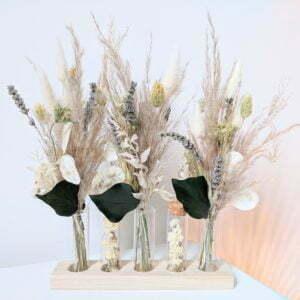 Ensemble de mini bouquets de fleurs séchées & fleurs stabilisées avec fioles en verre, Mona