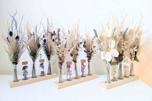 Ensemble de mini bouquets de fleurs séchées & fleurs stabilisées avec fioles en verre, Mona 4