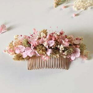 Peigne à cheveux fleuri pour coiffure de mariage en fleurs séchées & fleurs stabilisées, Romy