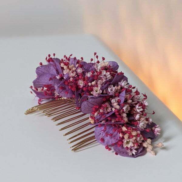 Peigne à cheveux fleuri pour coiffure de mariage en fleurs séchées & fleurs stabilisées, Isis