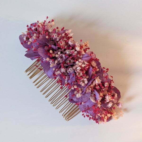 Peigne à cheveux fleuri pour coiffure de mariage en fleurs séchées & fleurs stabilisées, Isis 3