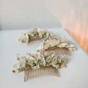 Peigne de mariée de fleurs stabilisées & fleurs séchées, Luna