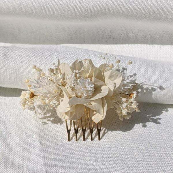 Peigne à cheveux fleuri pour coiffure de mariage en fleurs séchées & fleurs stabilisées, Luna 2
