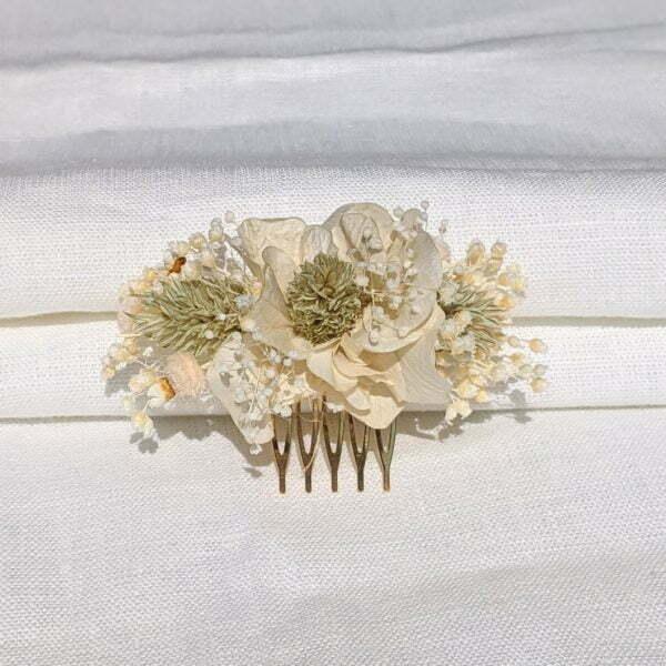 Peigne à cheveux fleuri pour coiffure de mariage en fleurs séchées & fleurs stabilisées, Luna 5