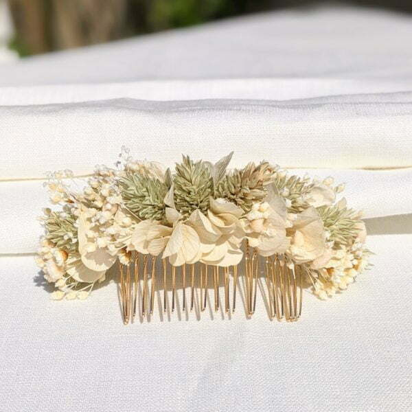 Peigne à cheveux fleuri pour coiffure de mariage en fleurs séchées & fleurs stabilisées, Luna 4