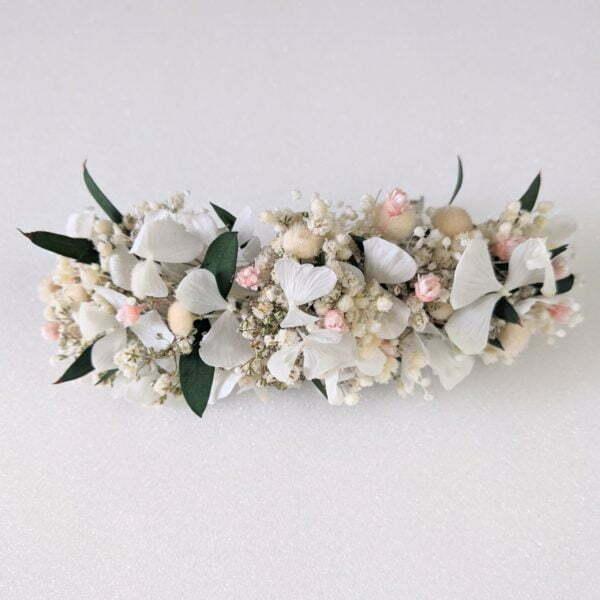 Barrette à cheveux fleurie pour coiffure de mariage en fleurs séchées & fleurs stabilisées, Rafaela