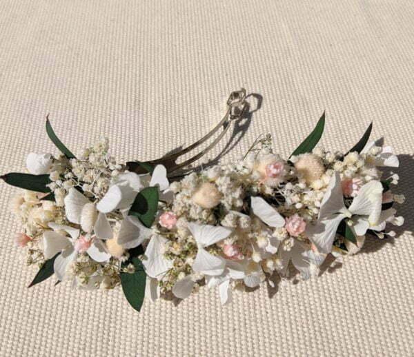 Barrette à cheveux fleurie pour coiffure de mariage en fleurs séchées & fleurs stabilisées, Rafaela 4