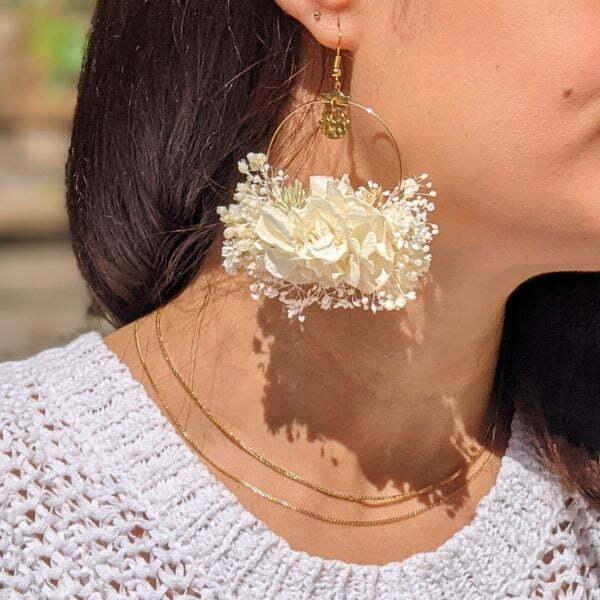 Boucles d'oreilles créoles en fleurs stabilisées, Luna
