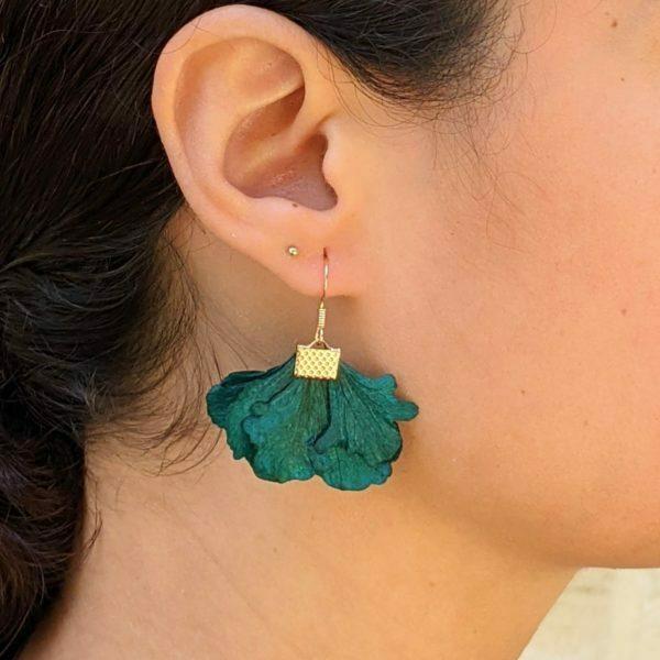 Boucles d'oreilles créoles en fleurs stabilisées, Neus 2