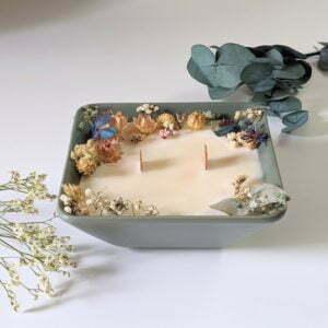 Bougie parfumée à la bergamote & fleurs séchées, naturelle artisanale, Dania