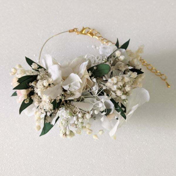 Bracelet de mariée, demoiselle d'honneur en fleurs séchées & fleurs stabilisées, Rafaela 2