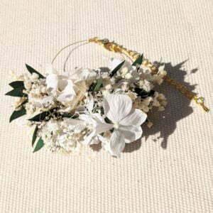 Bracelet de mariée, demoiselle d'honneur en fleurs séchées & fleurs stabilisées, Rafaela