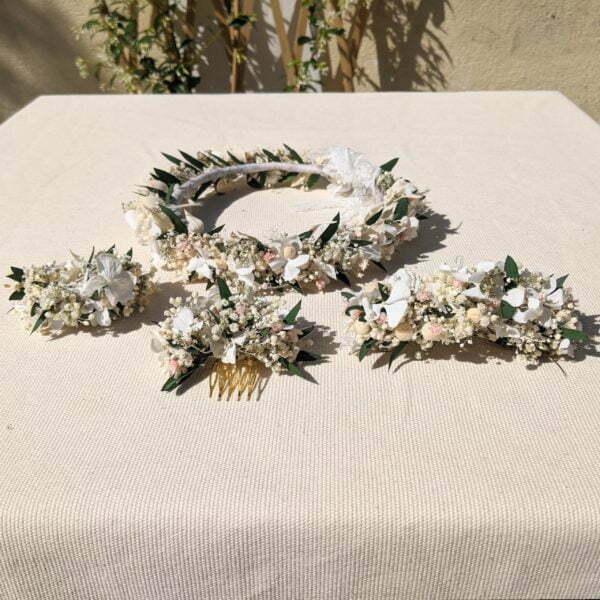 Couronne de fleurs stabilisé & fleurs séchées, Rafaela 3