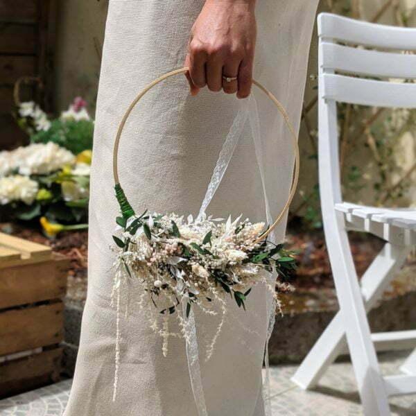 Couronne de mariée en fleurs séchées & fleurs stabilisées de couleurs pastel, Rafaela 2
