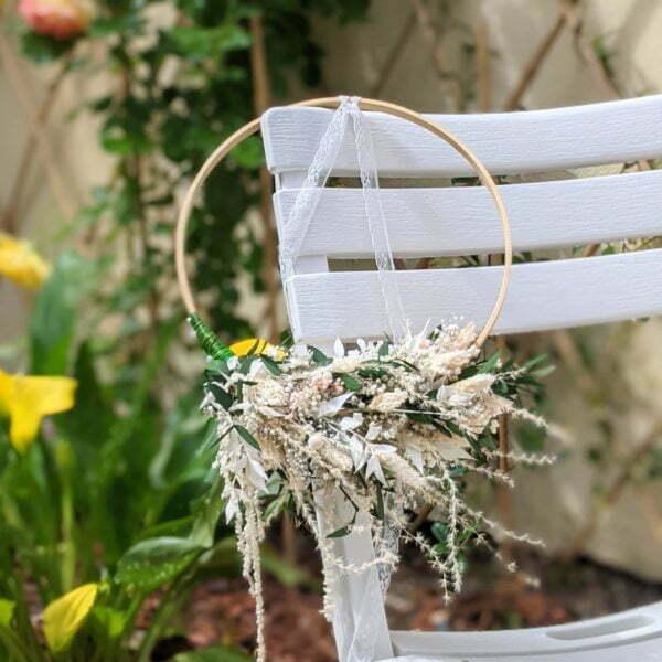 Couronne de mariée en fleurs séchées & fleurs stabilisées de couleurs pastel, Rafaela 3