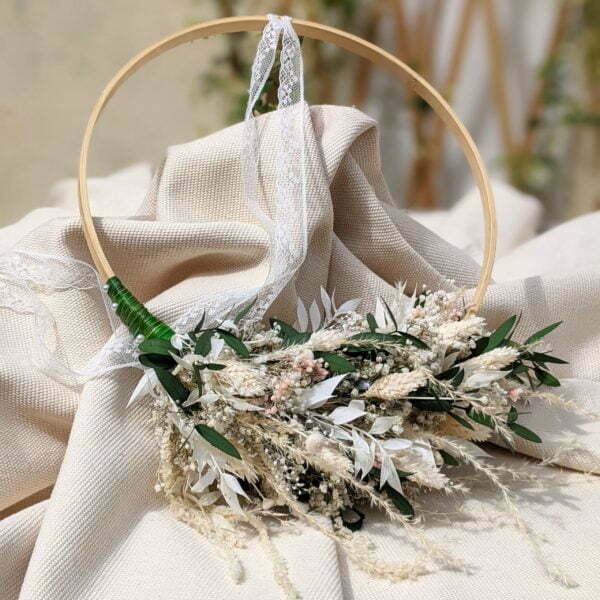 Couronne de mariée en fleurs séchées & fleurs stabilisées de couleurs pastel, Rafaela