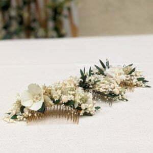Peigne à cheveux fleuri pour coiffure de mariage en fleurs séchées & fleurs stabilisées, Inès