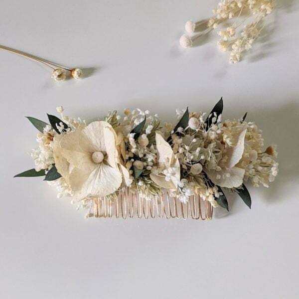 Peigne à cheveux fleuri pour coiffure de mariage en fleurs séchées & fleurs stabilisées, Inès 5
