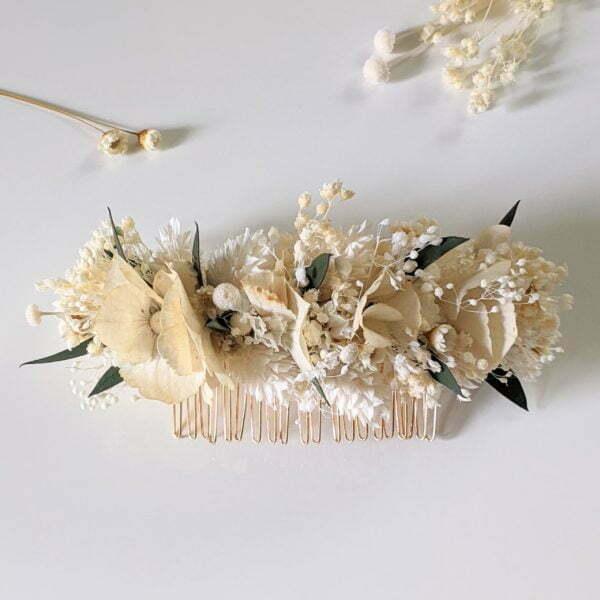Peigne à cheveux fleuri pour coiffure de mariage en fleurs séchées & fleurs stabilisées, Inès 2