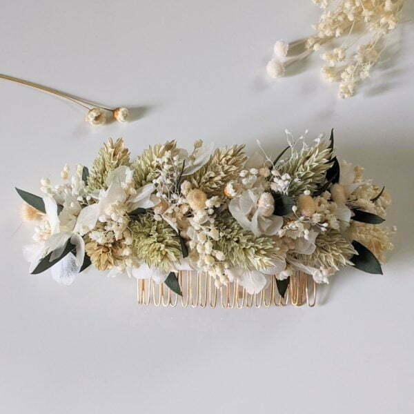 Peigne à cheveux fleuri pour coiffure de mariage en fleurs séchées & fleurs stabilisées, Inès 3