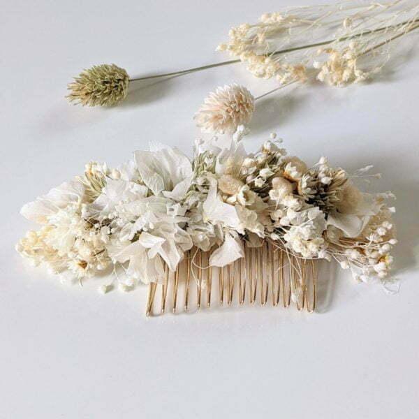 Peigne à cheveux fleuri pour coiffure de mariage en fleurs séchées & fleurs stabilisées, Luna 6
