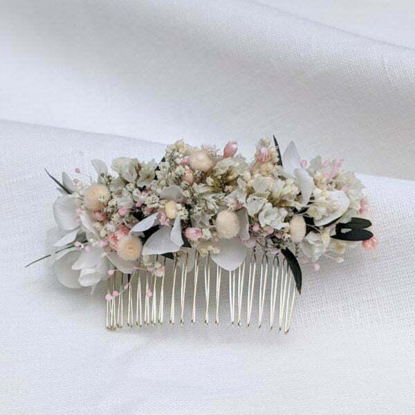 Peigne à cheveux fleuri pour coiffure de mariage en fleurs séchées & fleurs stabilisées, Rafaela