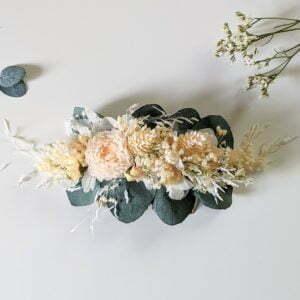 Peigne à cheveux fleuri pour coiffure de mariage en fleurs séchées & fleurs stabilisées, Dahlia