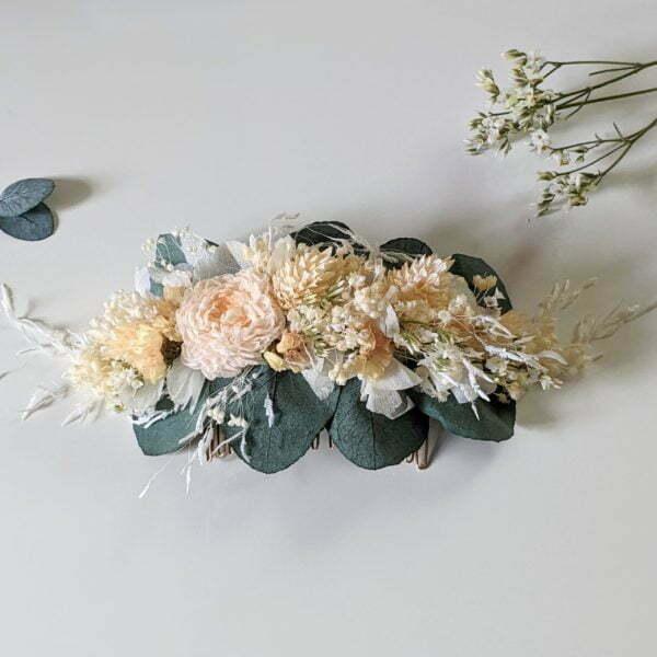 Peigne à cheveux fleuri pour coiffure de mariage en fleurs séchées & fleurs stabilisées, Dahlia 2