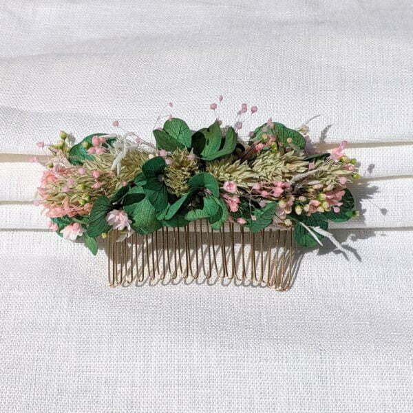 Peigne à cheveux fleuri pour coiffure de mariage en fleurs séchées & fleurs stabilisées, Esma