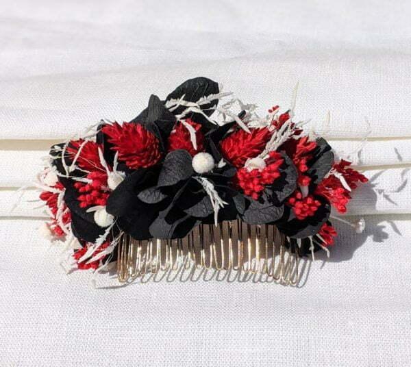 Peigne à cheveux fleuri pour coiffure de mariage en fleurs séchées & fleurs stabilisées, Lolita