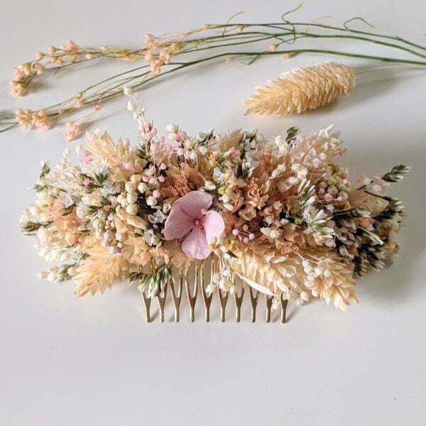 Peigne à cheveux fleuri pour coiffure de mariage en fleurs séchées & fleurs stabilisées, Melocoton 4