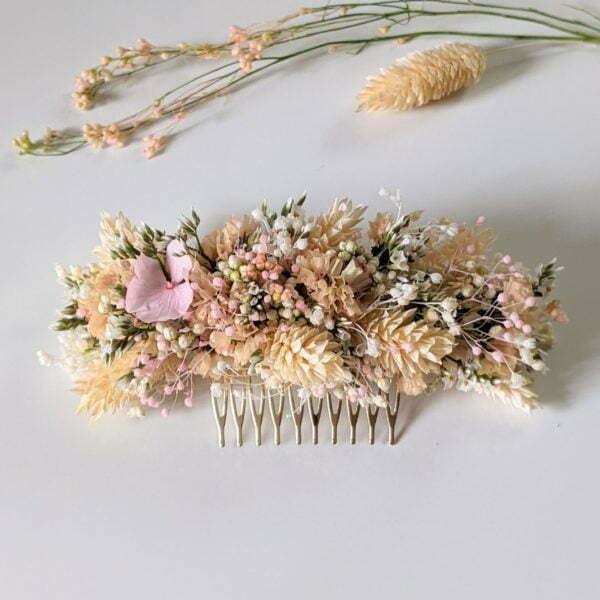 Peigne à cheveux fleuri pour coiffure de mariage en fleurs séchées & fleurs stabilisées, Melocoton 3