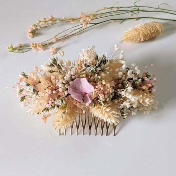 Peigne à cheveux fleuri pour coiffure de mariage en fleurs séchées & fleurs stabilisées, Melocoton 2