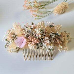 Peigne à cheveux fleuri pour coiffure de mariage en fleurs séchées & fleurs stabilisées, Melocoton