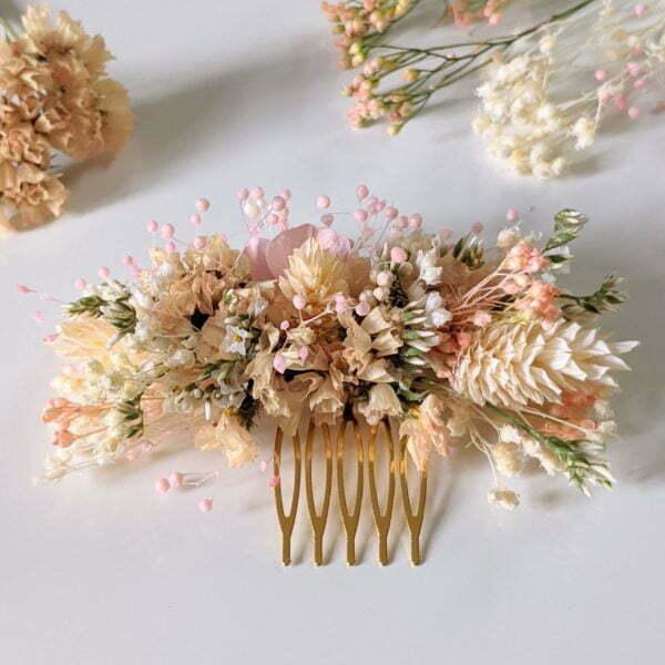Peigne à cheveux fleuri pour coiffure de mariage en fleurs séchées & fleurs stabilisées, Melocoton 6