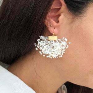 Boucles d'oreilles éventail en gypsophile stabilisée, bijou bohème, Charlotte
