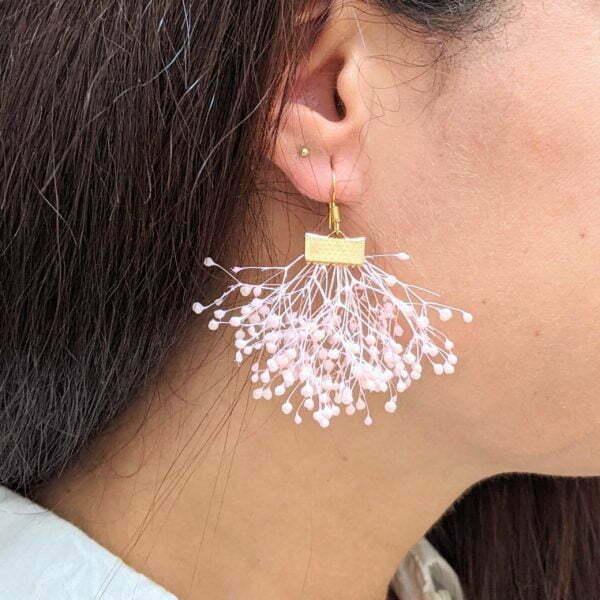 Boucles d'oreilles éventail en gypsophile stabilisée, bijou bohème, Charlotte 3