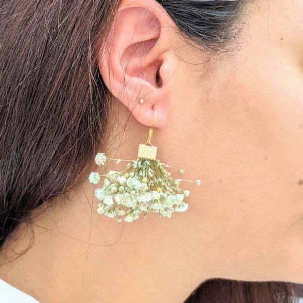 Boucles d'oreilles éventail en gypsophile stabilisée, bijou bohème, Charlotte 2