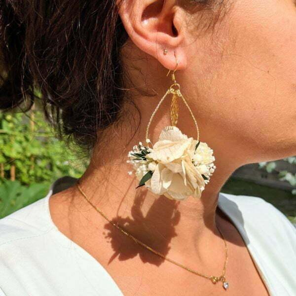 Boucles d'oreilles de mariée artisanales en fleurs séchées & fleurs stabilisées, Inès
