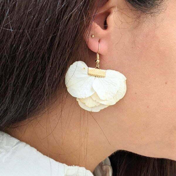 Boucles d'oreilles éventail en fleurs stabilisées, bijou bohème, Neus 4